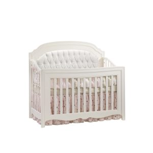 "Allegra ""5-in-1"" white Convertible Crib with a white diamond tufted upholstered panel"