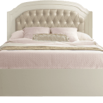 """Allegra Double Bed 54"""" (low profile footboard) with gold diamond tufted upholstered panel and pink sheets"""
