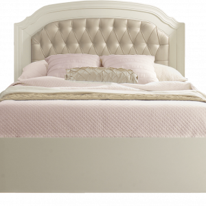 "Allegra Double Bed 54"" (low profile footboard) with gold diamond tufted upholstered panel and pink sheets"