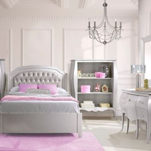 "White bedroom with a grey Alexa Double Bed 54"" (low profile footboard) with a silver diamond tufted upholstered panel, a desk/vanity, two bookcases, pink carpet"