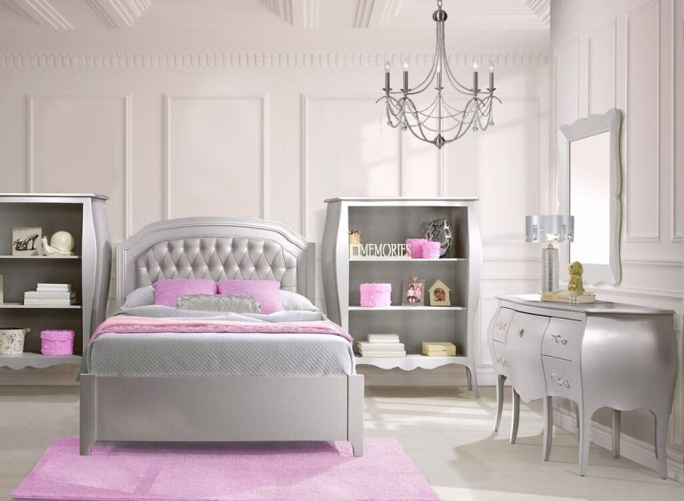 """White bedroom with a grey Alexa Double Bed 54"""" (low profile footboard) with a silver diamond tufted upholstered panel, a desk/vanity, two bookcases, pink carpet"""