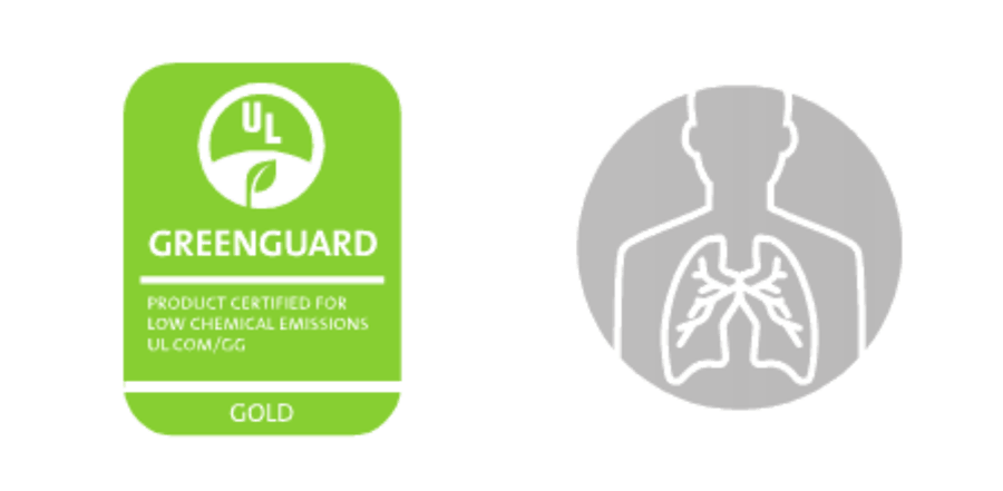 Green greenguard logo + icon of human Lungs