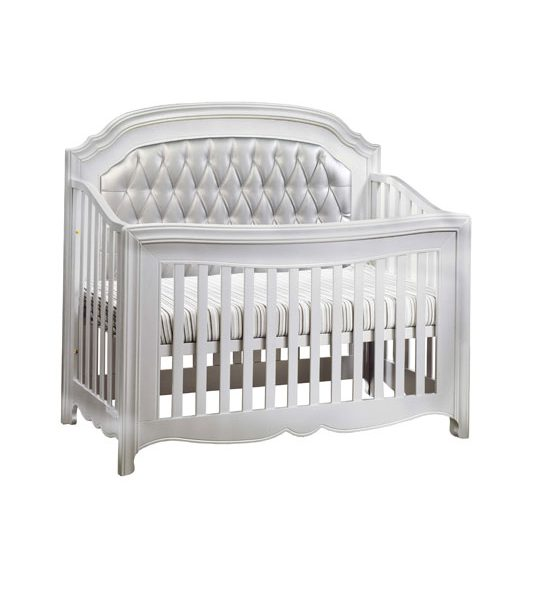 "Alexa ""5-in-1"" White Convertible Crib with a silver diamond tufted upholstered panel"