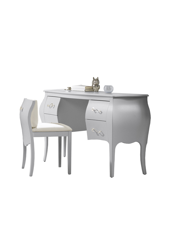 Alexa silver, grey desk with pull out chair