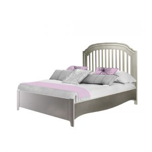 alexa double bed low profile footboard with grey and pink sheets
