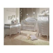 Baby nursery with silver 3 drawer dresser, lingerie chest and crib with silver diamond tufted upholstered panel