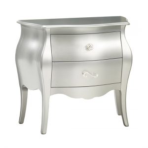 alexa metallic white nightstand with two drawers