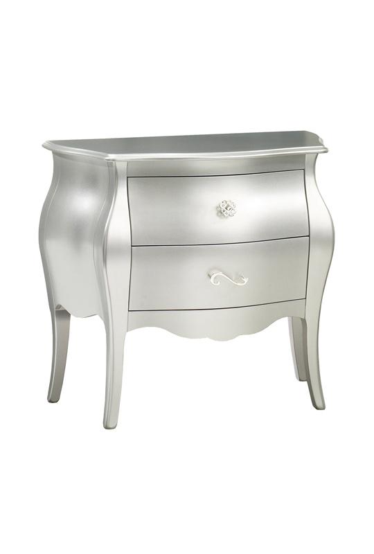 alexa metallic white nightstand with two drawers