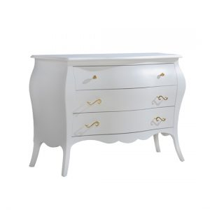 Allegra Gold white 3 Drawer Dresser with gold knobs