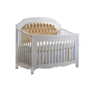 "Allegra Gold ""5-in-1"" Convertible Crib with Gold Diamond Tufted Upholstered Headboard Panel"