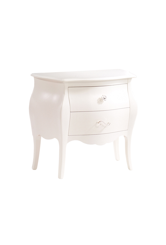 Allegra White Nightstand with 2 drawers