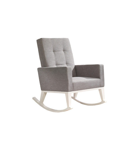 Nova Rocker with white wood legs and grey cushions