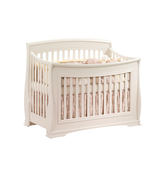 "Bella ""5-in-1"" White Convertible Crib with pink sheets"