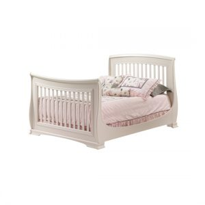 "Bella Double Bed 54"" with pink sheets"