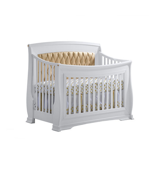 """Bella Gold """"5-in-1"""" Convertible Crib with Bella Gold Diamond Tufted Upholstered Headboard Panel"""