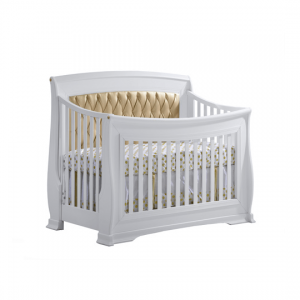 "Bella Gold ""5-in-1"" white Convertible Crib with Gold Diamond Tufted Upholstered Headboard Panel"