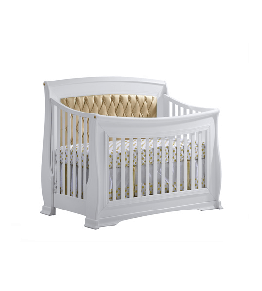 "Bella Gold ""5-in-1"" Convertible Crib with Bella Gold Diamond Tufted Upholstered Headboard Panel"