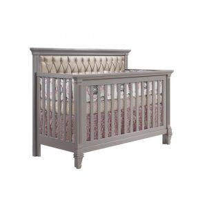 Belmont Grey wood Convertible Crib with platinum diamond tufted upholstered headboard panel