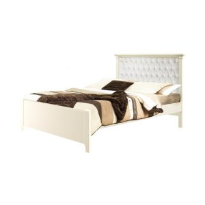 "Belmont Double Bed 54"" (low profile footboard) with Diamond Tufted Upholstered Headboard Panel"