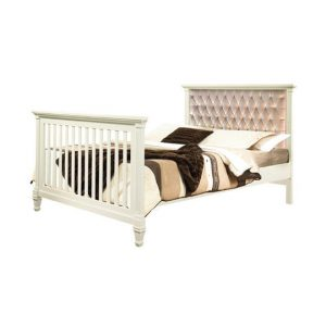"Belmont Double Bed 54"" with Diamond Tufted Upholstered Headboard Panel"