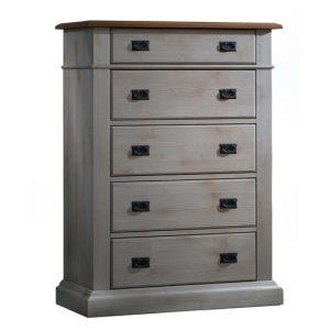 Cortina Wooden 5 Drawer Dresser with cognac tops and with black metallic handles