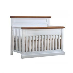 "Cortina ""5-in-1"" whtie wood Convertible Crib with cognac tops"