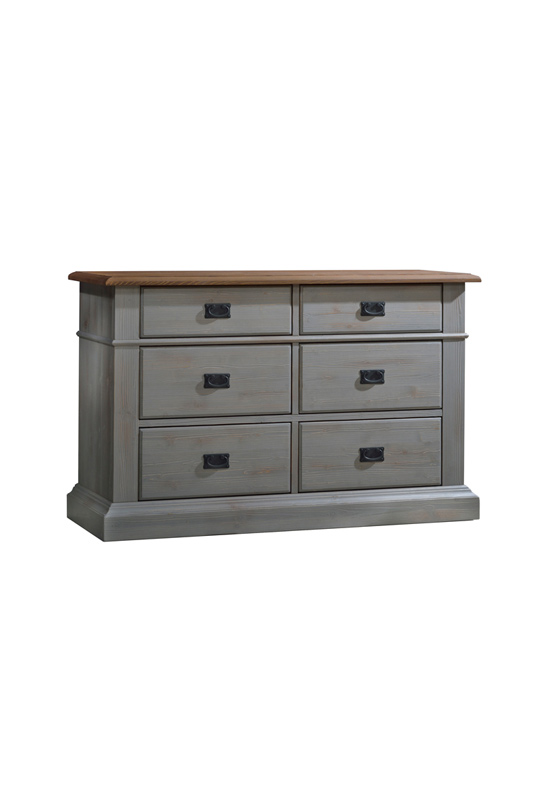 Cortina Grey wood Double Dresser with cognac tops and with black metallic handles