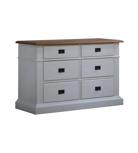 cortina white wood double dresser with cognac tops and black metallic handles