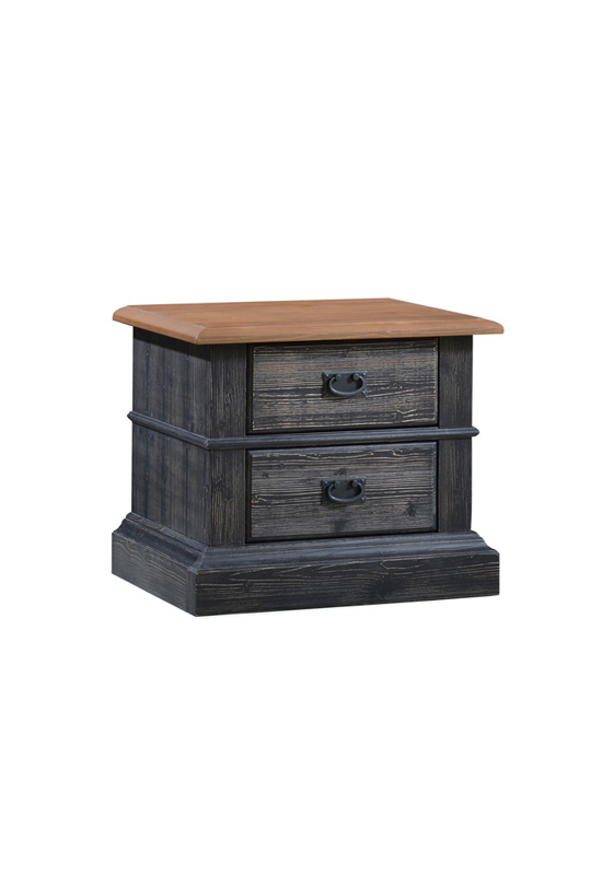 Cortina black wood Nightstand with cognac tops