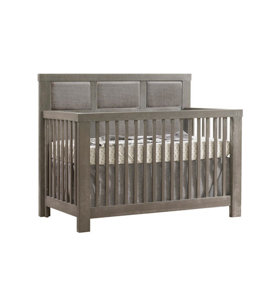 "Rustico ""5-in-1"" Convertible Crib with Linen Weave Upholstered Headboard Panel"