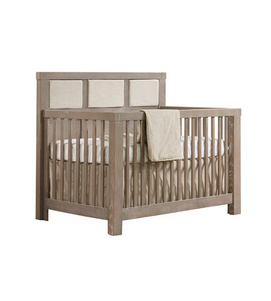"Rustico ""5-in-1"" Convertible Crib w/Linen Weave Upholstered Headboard Panel"