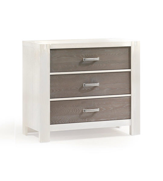Rustico Moderno White wood 3 Drawer Dresser with dark wood drawer facades
