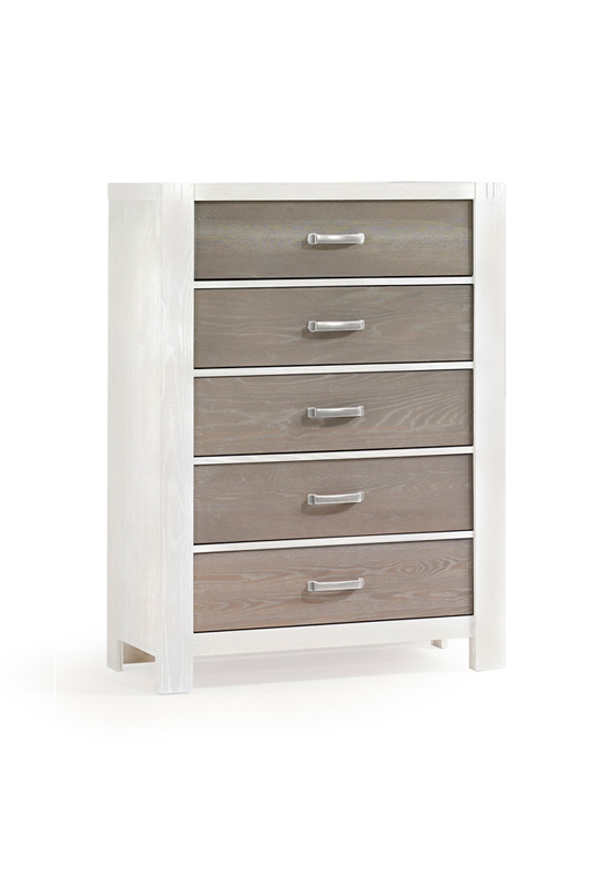 Rustico Moderno White wood 5 Drawer Dresserwith dark wood facade drawers