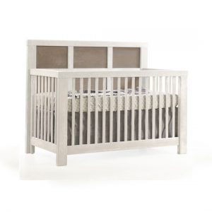"Rustico Moderno ""5-in-1"" White Convertible Crib with dark wood panels"