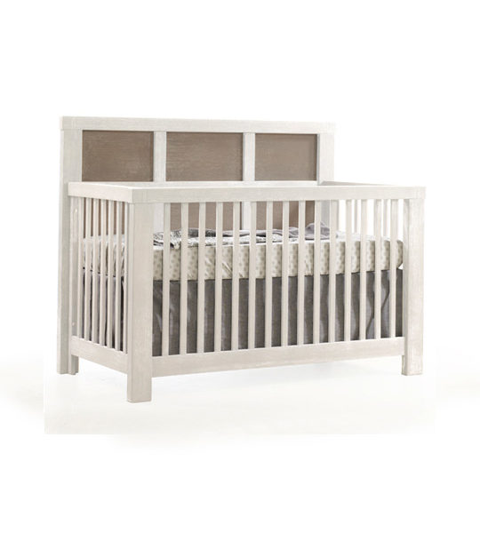 """Rustico Moderno """"5-in-1"""" White Convertible Crib with dark wood panels"""
