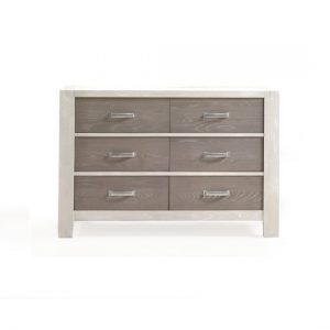 Rustico Moderno White Double Dresser with dark wood facades