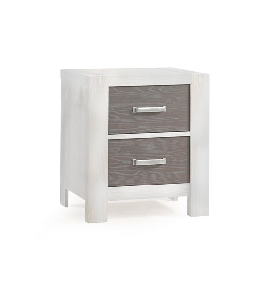 Rustico Moderno White 2 drawer Nightstand with dark wood facades