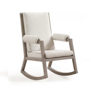 Senza wooden rocking chair with linen sugarcane cushions