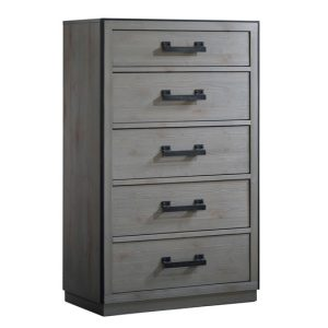Sevilla Grey wood 5 Drawer Dresser with black metallic handles