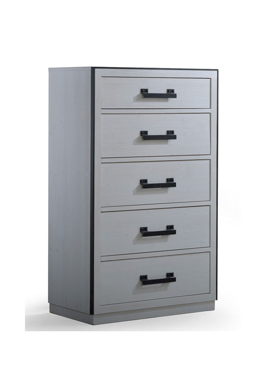 Sevilla 5 Drawer Dresser with black metallic handles