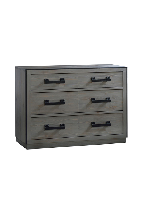 Sevilla Grey Double Dresser with black metallic handles