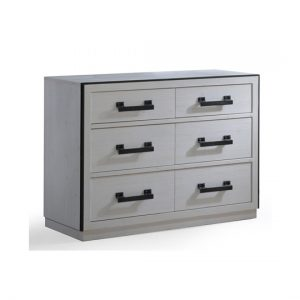 Sevilla White wooden Double Dresser with black metallic handles