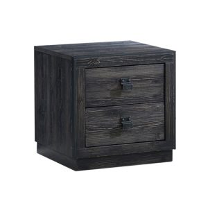 Sevilla Black Nightstand with two drawers, black metallic handles