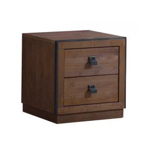 Sevilla Nightstand with two drawers, black metallic handles in cognac