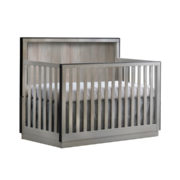 """Valencia """"5-in-1"""" light wooden Convertible Crib with black edges"""