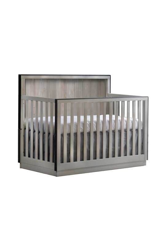 "Valencia ""5-in-1"" light wooden Convertible Crib with black edges"