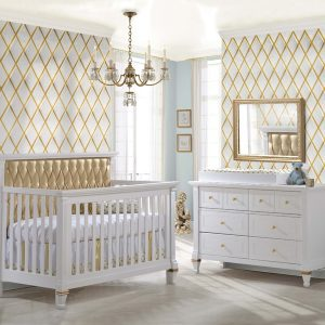 "Belmont Gold ""5-in-1"" Convertible Crib with Gold Diamond Tufted Upholstered Headboard Panel"