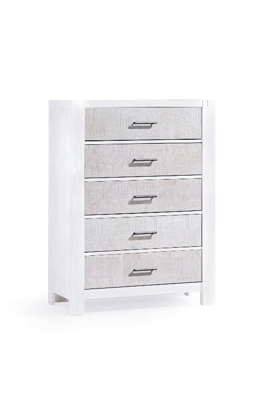 Rustico moderno 5 drawer dresser in white and white bark