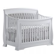 "Bella ""5-in-1"" White Convertible Crib with diamond tufted linen-weave upholstered panel in grey"