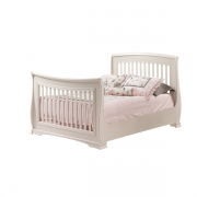"""Bella White Double Bed 54"""" with pink sheets"""